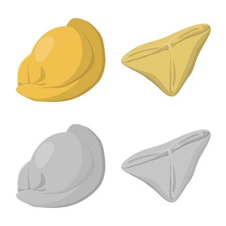 Vector illustration of products and cooking sign. Collection of products and appetizer vector icon for stock.  イラスト・ベクター素材