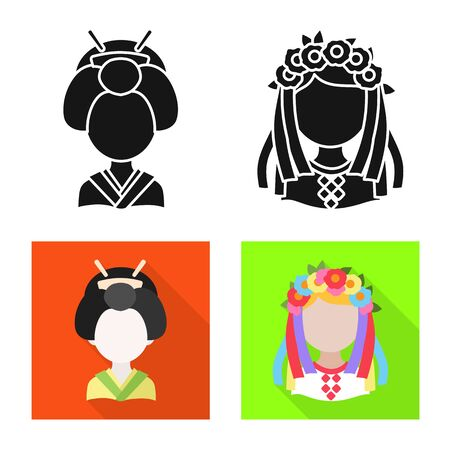 Isolated object of imitator and resident. Collection of imitator and culture stock vector illustration.