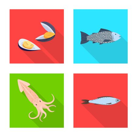 Vector illustration of product and ocean symbol. Collection of product and restaurant stock symbol for web.