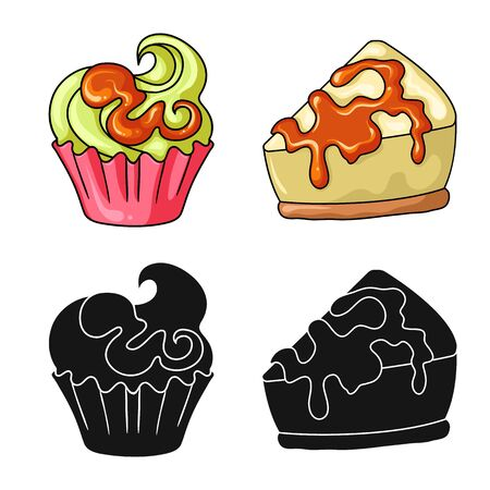 Vector illustration of confectionery and culinary. Set of confectionery and product stock symbol for web.