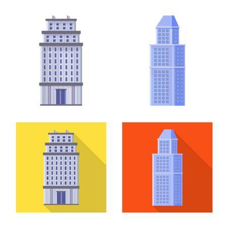 Vector illustration of municipal and center icon. Collection of municipal and estate vector icon for stock. Illusztráció