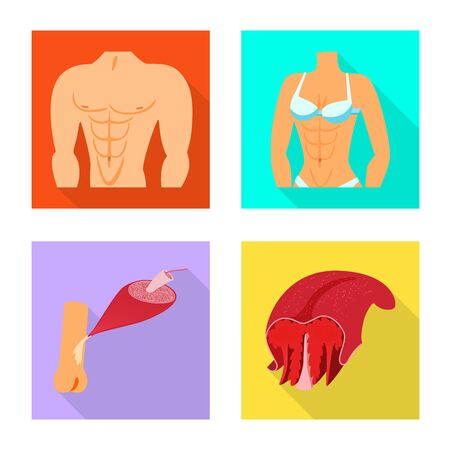 Isolated object of muscle and cells symbol. Collection of muscle and anatomy vector icon for stock. Illustration