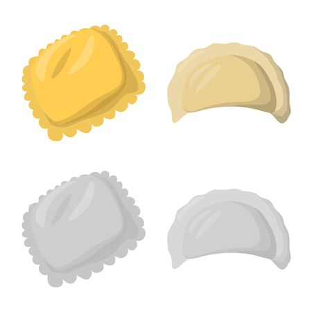 Vector design of products and cooking logo. Collection of products and appetizer vector icon for stock. Фото со стока - 129313152