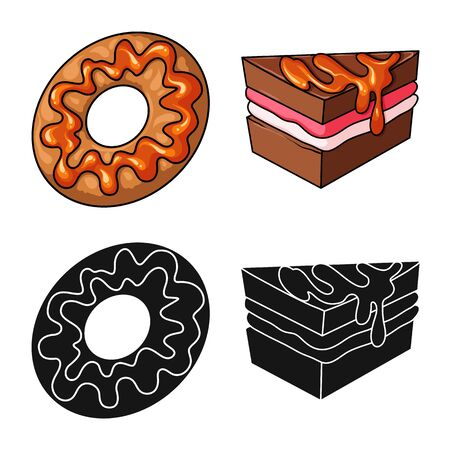 Vector design of confectionery and culinary symbol. Set of confectionery and product stock vector illustration. Stok Fotoğraf - 129330998