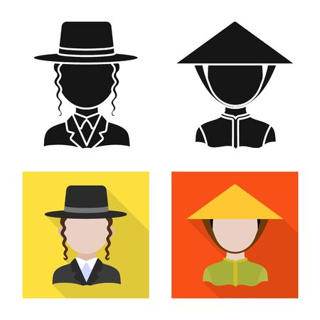 Isolated object of imitator and resident icon. Set of imitator and culture stock vector illustration.  イラスト・ベクター素材