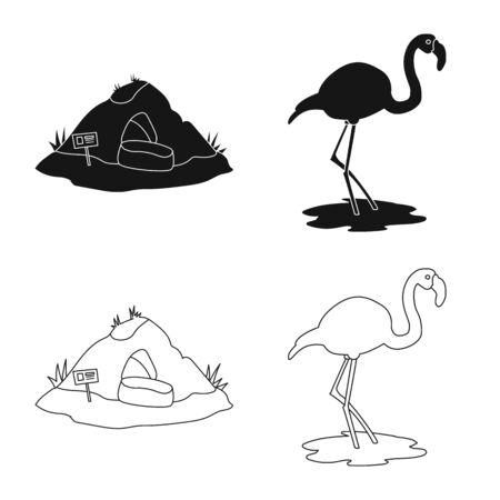 Diseño vectorial de naturaleza y signo divertido. Conjunto de ilustración vectorial de stock de naturaleza y entretenimiento. Ilustración de vector