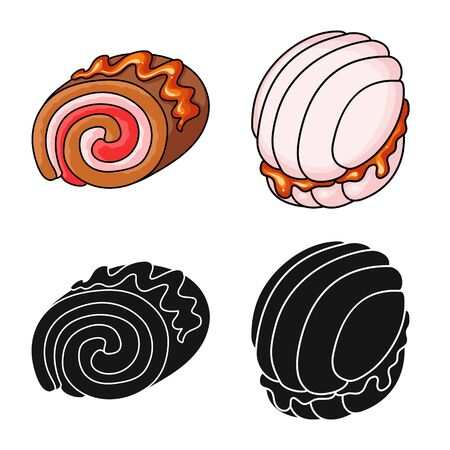 Vector illustration of confectionery and culinary sign. Set of confectionery and product vector icon for stock. Stok Fotoğraf - 129331013