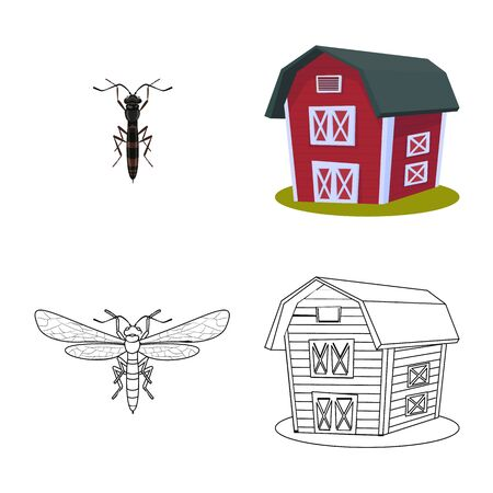Isolated object of agriculture and farming. Set of agriculture and plant vector icon for stock. Stok Fotoğraf - 129331097