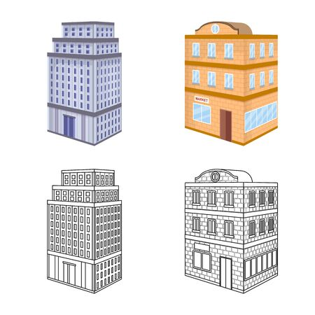 Vector design of construction and building. Collection of construction and estate stock vector illustration.