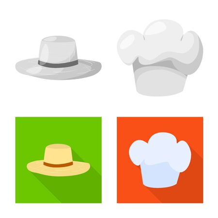 Isolated object of clothing and cap sign. Collection of clothing and beret vector icon for stock.