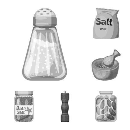 Vector design of salt and food symbol. Set of salt and mineral stock vector illustration. Stok Fotoğraf - 129331134