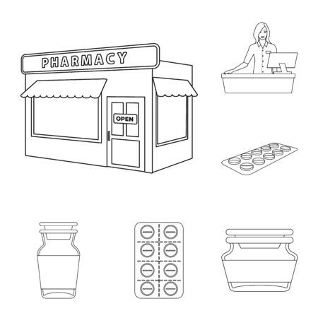 Vector design of pharmacy and pharmaceutical. Collection of pharmacy and health vector icon for stock. Stok Fotoğraf - 129331137