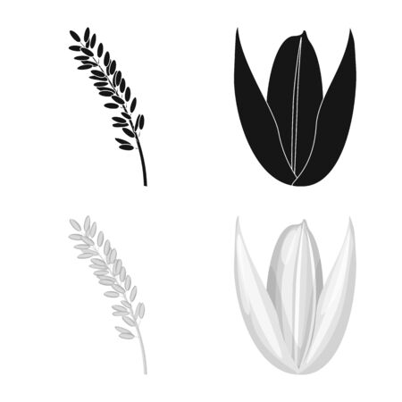 Vector design of crop and ecological. Set of crop and cooking stock symbol for web. Çizim