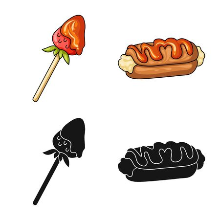 Vector illustration of confectionery and culinary. Collection of confectionery and product vector icon for stock. Stok Fotoğraf - 129331175