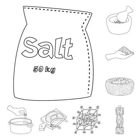 Isolated object of sodium and mineral sign. Collection of sodium and kitchen stock symbol for web.