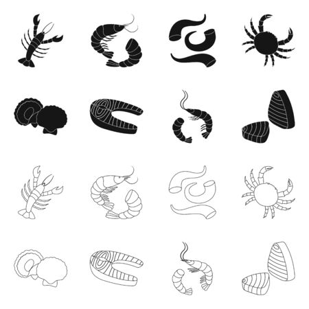 Vector design of fresh and restaurant icon. Collection of fresh and marine stock vector illustration.