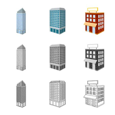 Vector illustration of construction and building icon. Collection of construction and estate stock vector illustration. Stok Fotoğraf - 129331192