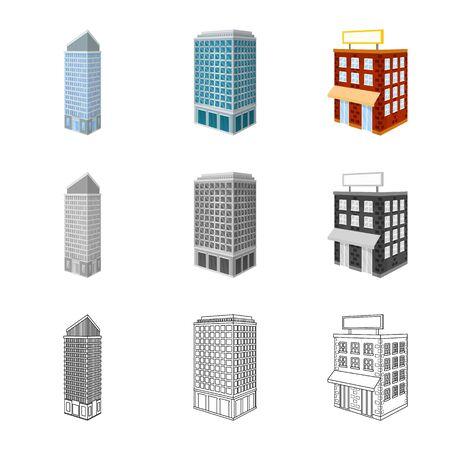 Vector illustration of construction and building icon. Collection of construction and estate stock vector illustration. Çizim