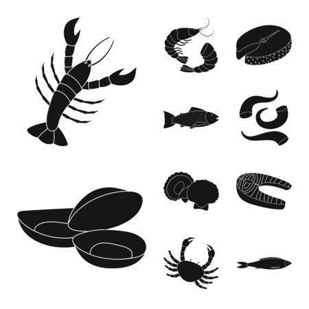 Vector design of market and marine symbol. Set of market and sea vector icon for stock. Ilustração