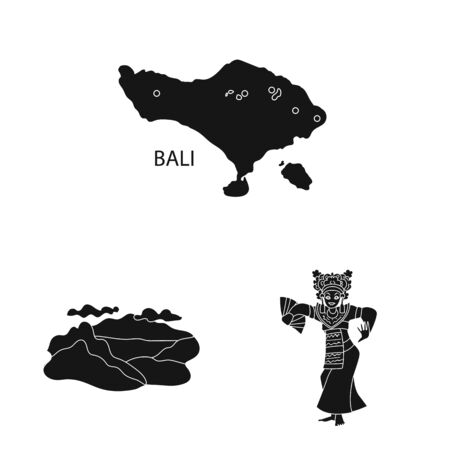Isolated object of and traditional symbol. Collection of and bali vector icon for stock.