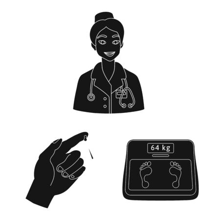 Vector illustration of healthcare and medicine symbol. Set of healthcare and diabetes stock vector illustration. Фото со стока - 129368223