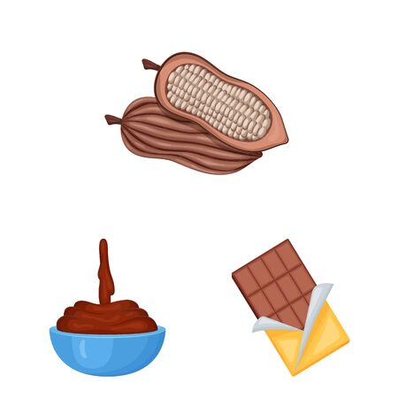 Vector design of cocoa and beans sign. Set of cocoa and sweetness stock symbol for web. Illustration