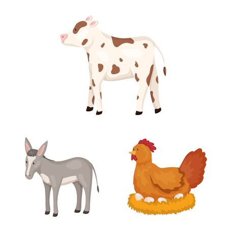 Vector design of farm and food . Collection of farm and countryside stock vector illustration. Stock Illustratie