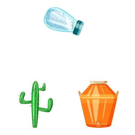 Isolated object of Mexico and tequila icon. Collection of Mexico and fiesta stock symbol for web.  イラスト・ベクター素材