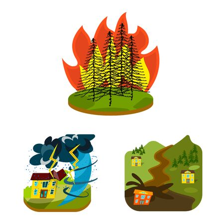 Vector illustration of cataclysm and disaster . Collection of cataclysm and apocalypse vector icon for stock. Иллюстрация