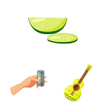 Isolated object of Mexico and tequila symbol. Collection of Mexico and fiesta vector icon for stock.