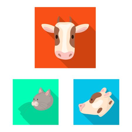 Isolated object of agriculture and breeding symbol. Collection of agriculture and organic stock symbol for web. 일러스트