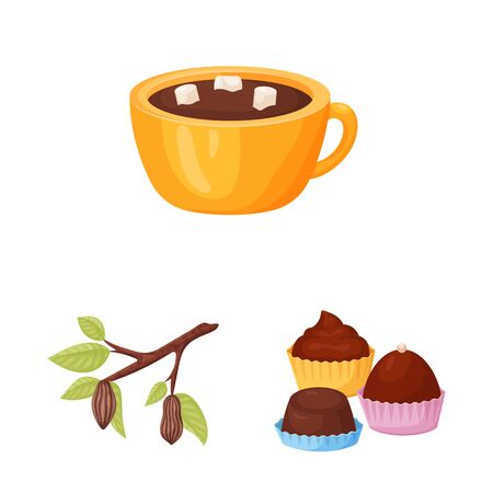 Isolated object of cocoa and beans symbol. Collection of cocoa and sweetness vector icon for stock.