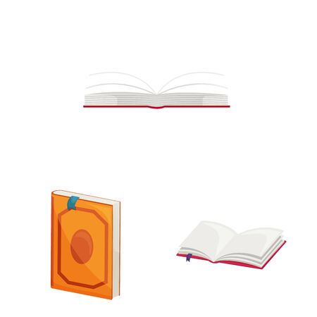 Vector design of library and bookstore sign. Set of library and literature stock symbol for web. Stock Illustratie
