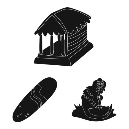 Vector design of and traditional icon. Set of and bali vector icon for stock. Illustration