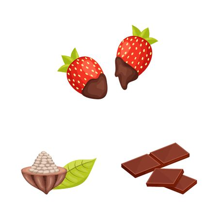 Vector illustration of cocoa and beans symbol. Collection of cocoa and sweetness vector icon for stock.
