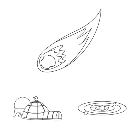 Vector illustration of space and galaxy symbol. Set of space and travels vector icon for stock.