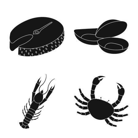 Vector illustration of market and marine symbol. Set of market and sea stock vector illustration.
