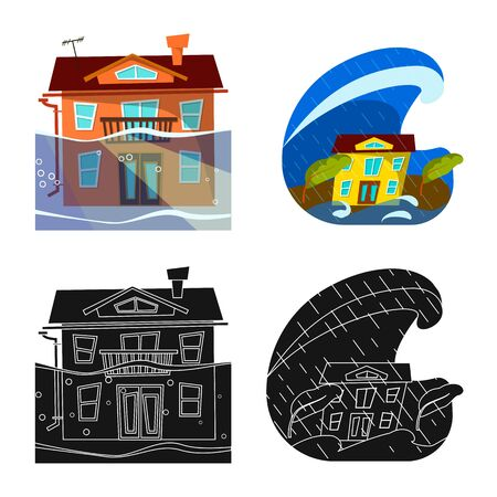 Isolated object of weather and distress . Set of weather and crash vector icon for stock. Stock Vector - 129369920