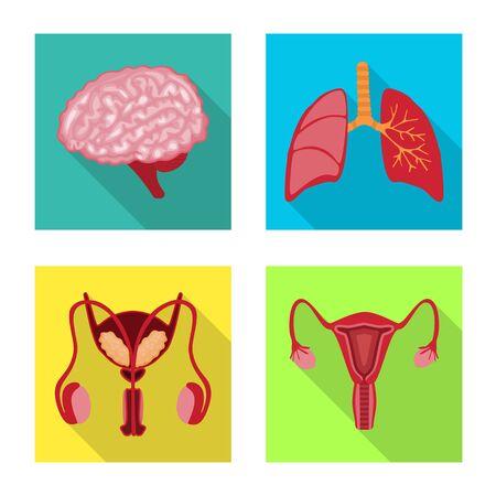 Objeto aislado de símbolo humano y de salud. Colección de ilustraciones vectoriales humanas y científicas.