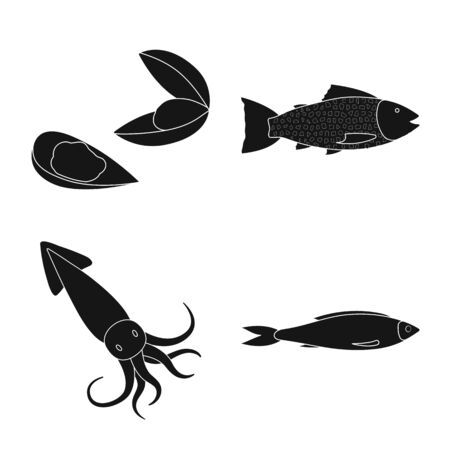Vector design of market and marine symbol. Collection of market and sea stock vector illustration. Illustration