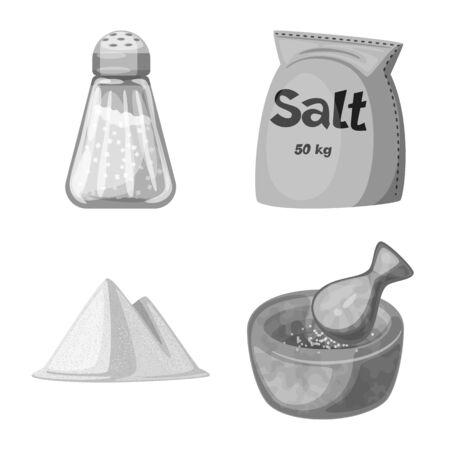 Vector design of salt and food sign. Set of salt and mineral stock vector illustration. 写真素材 - 129374940
