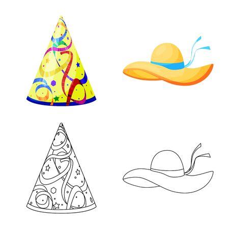 Vector illustration of clothing and cap symbol. Set of clothing and beret stock vector illustration. Standard-Bild - 129374941