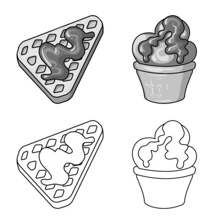 Vector illustration of confectionery and culinary sign. Collection of confectionery and product stock symbol for web.