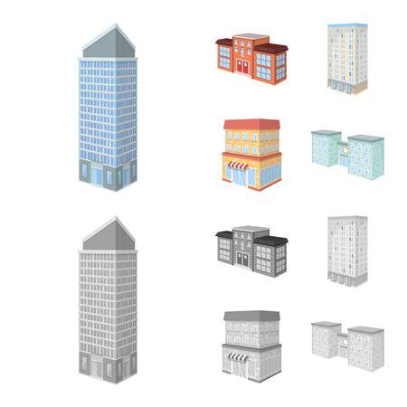 Vector illustration of construction and building. Set of construction and estate vector icon for stock. Illusztráció