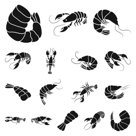 Isolated object of meat and delicacy icon. Collection of meat and crab vector icon for stock.