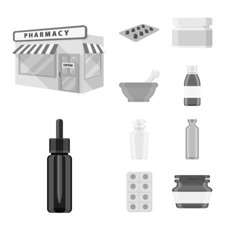 Vector design of medicine and health symbol. Collection of medicine and help stock vector illustration.