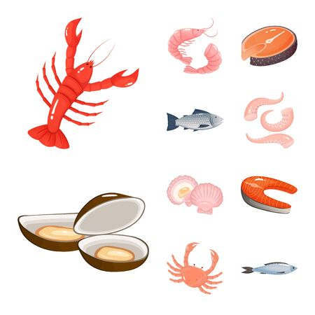 Vector design of food and sea symbol. Collection of food and healthy stock symbol for web. Ilustração