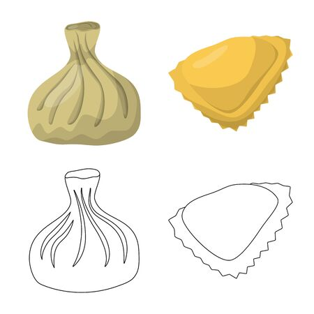 Vector illustration of products and cooking symbol. Set of products and appetizer stock vector illustration.