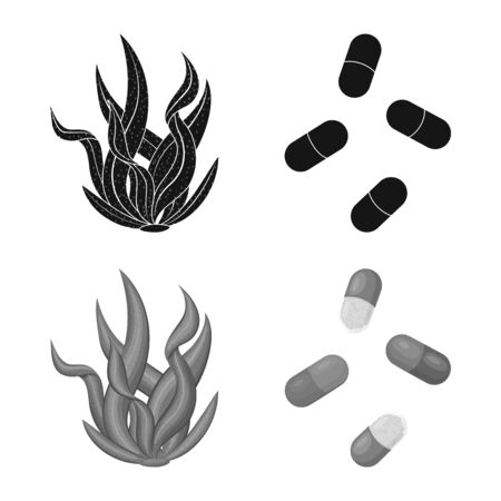 Vector design of protein and sea symbol. Set of protein and natural vector icon for stock. Ilustracja