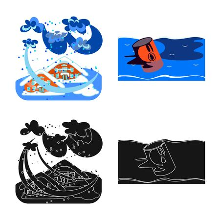 Vector illustration of weather and distress. Collection of weather and crash stock symbol for web. 일러스트